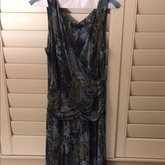 """BCBG tank top dress Multi colored """"splattered paint"""" look dress from BCBG Maxaria. Worn only a couple of times. Ruched in the waist. BCBGMaxAzria Dresses Midi"""