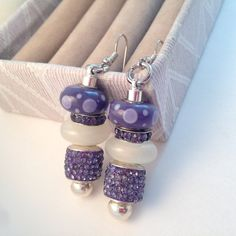Purple and White European Style Dangle Earrings, Beaded Earrings, Bling Earrings, European Charm Beads, Bridesmaid's Gift, by BeadGlitzy on Etsy
