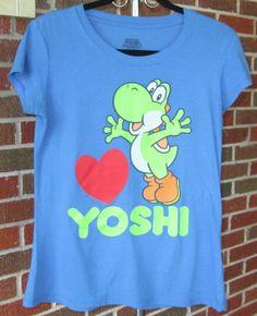 Super Mario Blue YOSHI Graphic T Shirt Girls Size LARGE