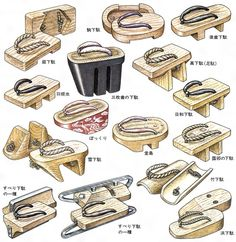 The different styles for the Japanese traditional sandals (geta) that allow for variety in options when incorporating the shoes. Design Reference, Drawing Reference, Kimono Tradicional, Gintama, Japanese Costume, Poses References, Drawing Clothes, Japanese Outfits, Yukata