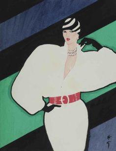 By René Gruau, Woman in a white dress, watercolour, gouache and ink.