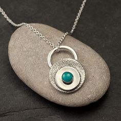 Turquoise Necklace Turquoise Pendant Sterling Silver by Artulia, $68.00