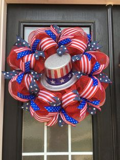 Uncle Sam Wreath Patriotic Wreath of July Deco Mesh 4th Of July Party, Fourth Of July, Deco Mesh Wreaths, Door Wreaths, Mesh Garland, Yarn Wreaths, Ribbon Wreaths, Floral Wreaths, Independance Day