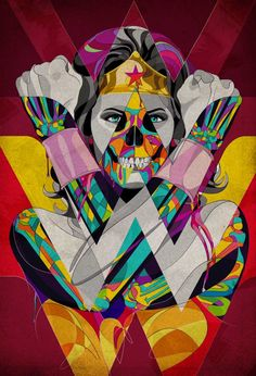 "WONDER WOMAN Skull Art ""ICON"" by Omar Luces"