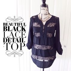 "Beautiful Black Lace Detail Top This top has sexy sheer lace panels & fits longer. It's a nice piece for layering & creating a stylish ensemble or wearing with a cami & skinny jeans. It's a great top to dress up or down {actual color of item may vary slightly from photos}  •shoulders:17"" •chest:17.5"" •waist:18.5""w •length:25/28"" •sleeve:23""  Material:100%polyester/rayon ️machine wash  Fit:a bit oversized so it might work for sml  Condition:no rips no stains  ❌no holds ❌no trades ♥️️bundles…"