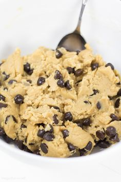 Healthy Cookie Dough packed with all the delicious flavor minus the worrisome eggs. Late night craving for some cookie dough? Grab a bite of this craving curbing treat packed with protein and natural sugars. Eating a spoonful of this cookie dough just got a little guilt-less. (Gluten Free, Dairy Free, Vegan)