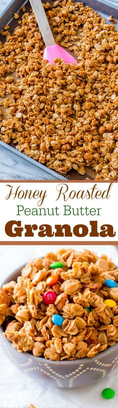 Only 7 simple ingredients to make this healthy honey roasted peanut butter granola! Made with homemade peanut butter too!