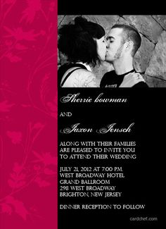 Hot Pink and Black Wedding Invitations