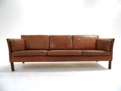 Mid Century Danish Tan Brown Leather 3 Seater Sofa Mogensen Style 1960s