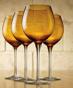 Take a look at this Amber Tuscana 16-Oz. Wine Glass by Home Essentials and Beyond on #zulily today!
