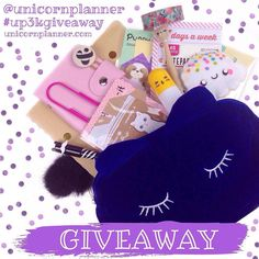 Eeeekkks!! Since I hit 3000 followers it's time for another GIVEAWAY!   One lucky @unicornplanner follower will win all these goodies! The winner will receive a gold polka dot journal a navy kitty pouch a memo pad and two paper clips. The winner will also receive items from my store! They will receive kitty sticky notes puppy sticky notes a pink washi wallet page flags a kitty pen a mustache pen Nilla Scoops Planner Pal a yellow vitamin pill pen and Amid the Flowers floral washi tape! Plus…