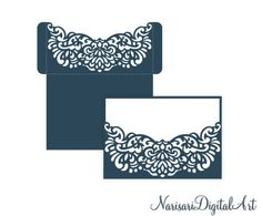 Wedding Invitation Pocket   Envelope 5x7 SVG cutting template от NarisariDigitalArt