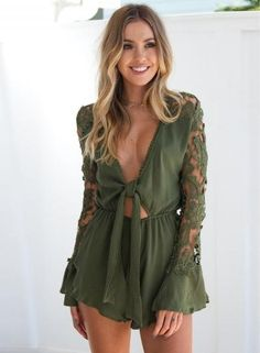 675a80175e84 Fashion Ruffles Lace Patchwork Short Jumpsuits Women Sexy Deep V Neck  Hollow Long Sleeve Playsuit Bodycon Party Romper Shorts