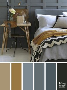 Dark grey color inspiration for bedroom painting #MasculineBedding