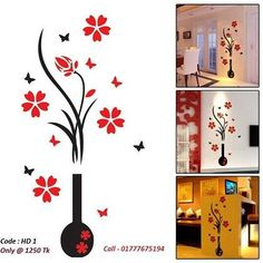 Description Decorate your walls with the most beautiful flower plum tree. Thishome Decor for illuminating your beloved palace .3D Vase;Flower Plum Tree Wall D