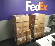 FedEx Express Service Center in Pittston shipping our HTS Systems' Cone Cradle products to FedEx Freight locations across the country.