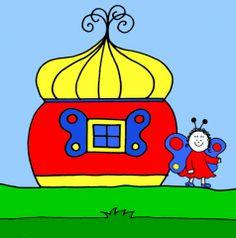 Bogyó és Babóca, Pihe háza Cartoon Ideas, Baby Room, Room Ideas, Snoopy, How To Make, Kids, House, Fictional Characters, Children