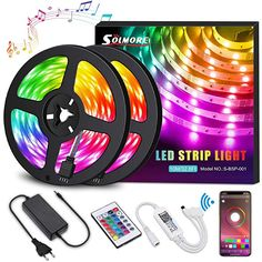 LED Strip LightsSOLMORE LED Light Strips Wireless Music RGB Tape Lights 300 Lights Smart Phone App Controlled Rope Lights for Home Parties Birthday Bar Club Decoration ** To view further for this item, visit the image link-affiliate link. Birthday Bar, Led Stripes, App Control, Led Light Strips, Color Changing Led, Strip Lighting, Color Change, Remote, Lights