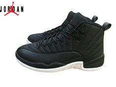 Men s Air Jordan 12 Black Nylon Basketball Shoes Black White-Gym Red 130690- 91e30caa5b5c
