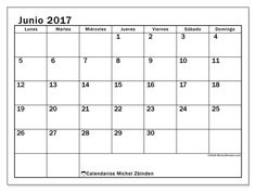 Calendario junio 2017 para imprimir, gratis. Calendario mensual : Tiberius (L). La semana comienza el lunes