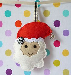 Small Handmade Felt Christmas Decoration by paper-and-string, the perfect gift for Explore more unique gifts in our curated marketplace. Handmade Christmas Decorations, Felt Decorations, Holiday Crafts, Felt Ornaments, Christmas Ornaments, Felt Crafts, Diy Crafts, Christmas Minis, Father Christmas