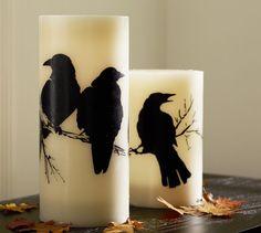 Halloween Decor Decorations :: Flameless Raven Pillar Candle   Pottery Barn