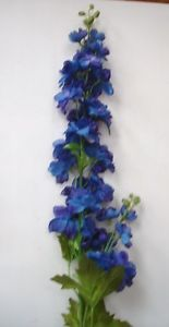 New 6 Stems Deluxe Quality Delphinium 'Dark Blue' Artifical Silk Flowers