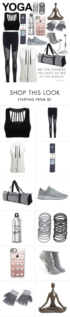 """""""My Friend Was leaving class early and asked if I was going too. """"Namaste"""" , I said"""" by army-4-life on Polyvore featuring Beyond Yoga, Alo Yoga, Manduka, New Balance, Casetify, Forever 21 and Pier 1 Imports"""