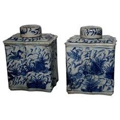 Check out this item at One Kings Lane! Blue & White Tea Caddies, Pair