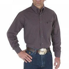 George Strait by Wrangler Men's Long Sleeve Plaid Print Western Shirt