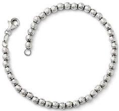 14k White Gold Diamond-cut Beaded Bracelet. #Jewelry #Bracelets
