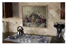 Kitchen : Beautiful Kitchen Backsplash Tiles Home Depot With Tuscan Tile Murals Kitchen Backsplash Also Beige Natural Stone Backsplash And White Metal Gas Range Top Besides Brown Granite Countertops Wonderful Home Depot Kitchen Backsplash Design Ideas Ki Tuscan Decorating Kitchen, Decor, Kitchen Backsplash Designs, Kitchen Design, Custom Kitchen Backsplash, Kitchen Backsplash, Kitchen Wall Decor, Kitchen Styling, Kitchen Accessories Decor