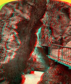 "https://flic.kr/p/7PDvfM | Trent, Austrian Tyrol, Interior of the Gorge  anaglyph3D | ANAGLYPH, conversion of original card stereoview in my collection.  ""Trent  (Austrian Tyrol) Interior of the Gorge"" Adolph Braun photographer.   This image views in 3D when wearing RED/CYAN 3D glasses.  More images of this type can be found by searching ""anaglyph&quot"