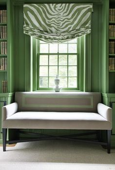 Green and white relaxed roman shade.Custom shades and draperies… My Living Room, Living Spaces, Relaxed Roman Shade, Living Colors, Color Of The Year 2017, Custom Window Treatments, Green Rooms, Green Walls, Window Coverings