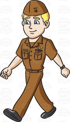 A navy man in his on duty brown uniform #cartoon #clipart #vector #vectortoons #stockimage #stockart #art