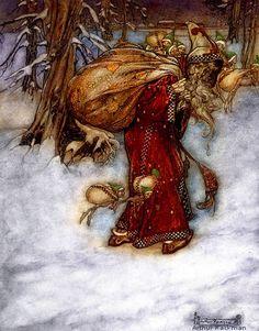 Santa Claus by Arthur Rackham from Arthur Rackham's Book of Pictures 1907