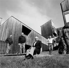 Architects Richard Whitaker, Donlyn Lyndon, Charles Moore, and William Turnbull—the designers of some of the earliest buildings at Sea Ranch—in Condominium courtyard in Photo 2 of 11 in The Legacy of Sea Ranch, a Utopian Community in Northern California. Sea Ranch California, Northern California, Lawrence Halprin, Monterey Cypress, San Francisco Museums, Ranch Style, Museum Of Modern Art, The Ranch, Planer