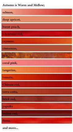 Rottöne Farbpalette farbnamen für 10 warme rottöne: tomatenrot, salsa, orange-rot