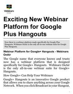 Most ideal Webinar Platform for Google plus Hangouts #webinars_onair #webinar_platform #webinar_platforms
