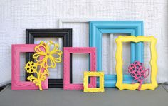 Bright Frames Set of 7 plus Flowers - Black White Pink Yellow Turquoise Upcycled frames .. Gallery Wall Teen Girl Kids Bedroom. $65.00, via Etsy.