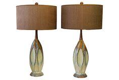 Midcentury Drip Glaze  Lamps, Pair on OneKingsLane.com