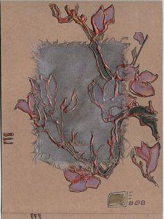 Handmade blank greeting card  Mauve magnolia  Asian by Vlada19, $10.00