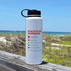 40-oz stainless steel 30A thermal bottle with beach flags