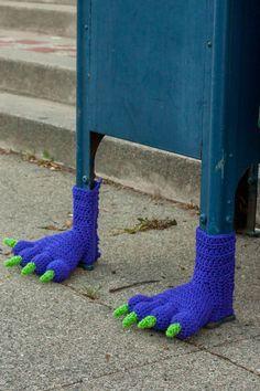 Monster Feet Mailbox Yarn Bomb: