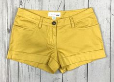 KEEPERS Kensie women 4 yellow stretch flat front cuffed casual mini short shorts #Kensie #MiniShortShorts