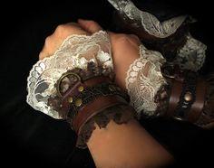 Romantic Victorian Steampunk Cuffs Leather & LACE sexy slave bracelets / bdsm cuffs, white or off-white lace, brass, brown leather Leather Lace Bracelet, Leather Cuffs, Leather And Lace, Brown Leather, Steampunk Costume, Steampunk Fashion, Slave Bracelet, Steampunk Design, Steampunk Wedding