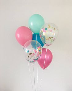 Hot Pink Teal Pink Mint Gold Confetti Latex Balloons Flamingo Party Pool Party Tropical Party Gender Reveal Tropical Bachelorette Pool Party
