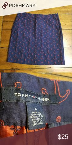 "Tommy Hilfiger Anchor Skirt Size 6 Anchor skirt by Tommy Hilfiger. 32"" waist, 18"" length. Excellent condition. No flaws. I'm a suggested user & top rated seller open to negotiating prices and give great bundle deals. Use the offer button & don't hesitate to ask questions. :) Xoxo Ansley Tommy Hilfiger Skirts"