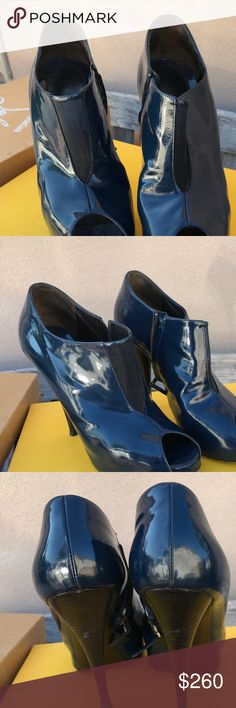 FENDI heals worn 1x navy blue super hot!!!! 🔥✔️ Authentic FENDI heals worn 1x navy blue super hot!!!! 🔥✔️🖤🎵☑️💲💱⭐️💲 booties open toe. Comes with box and dust bag Fendi Shoes Ankle Boots & Booties