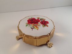 Vintage Stratton of England Rose Trinket/Jewelry Box by CrowsCollection on Etsy